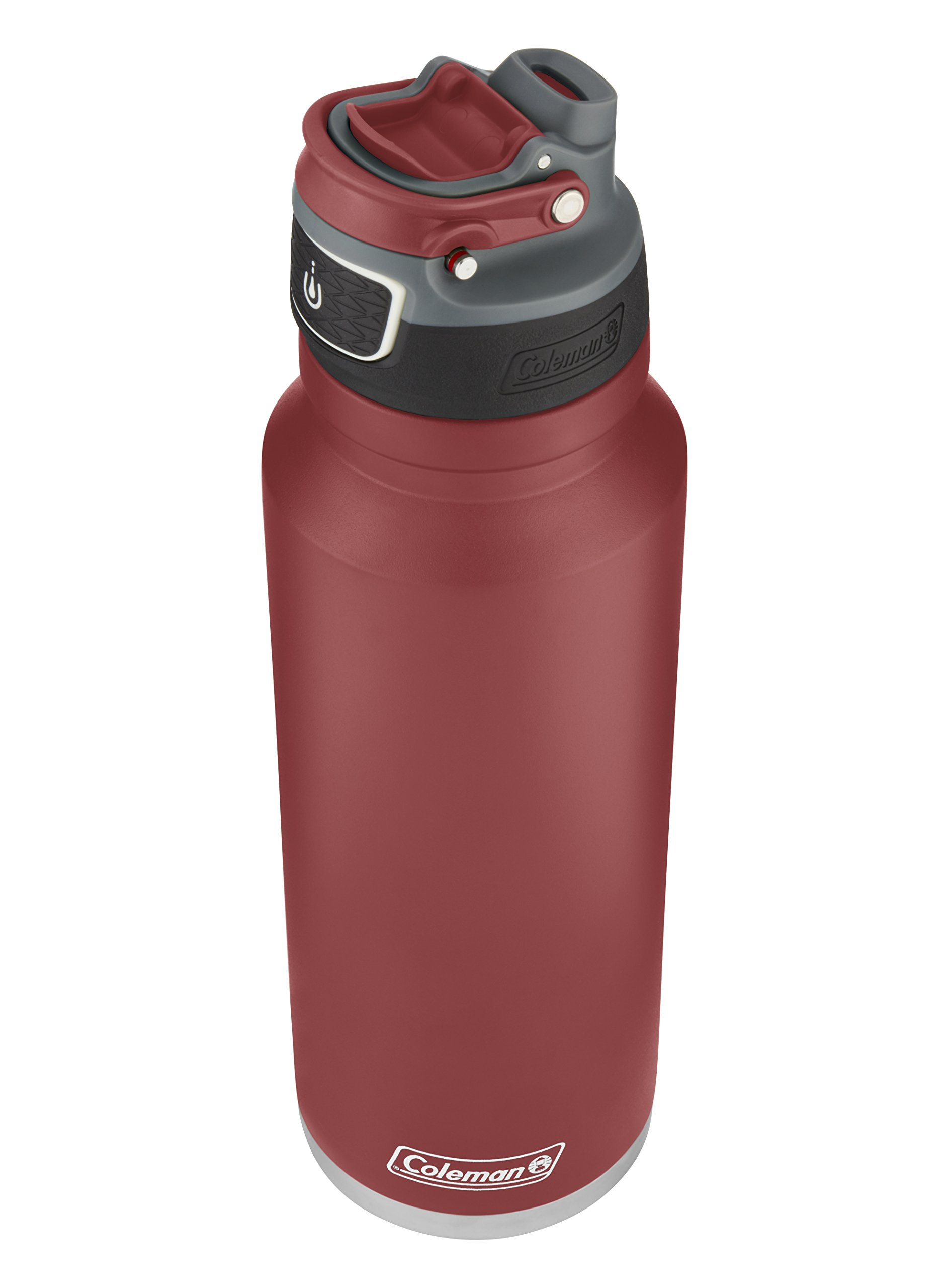 Coleman FreeFlow AUTOSEAL Insulated Stainless Steel Water Bottle, Heritage Red, 40 oz.