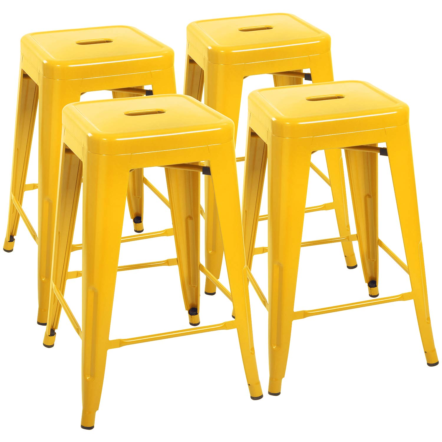 Devoko Metal Bar Stools 24'' Indoor Outdoor Stackable Barstools Modern Style Industrial Vintage Counter Bar Stools Set of 4 (Yellow) by Devoko