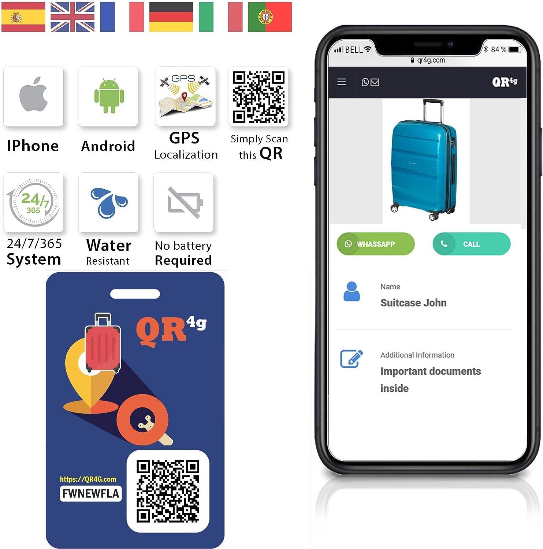 QR4g.com GPS: Placa identificativa inteligente para MALETAS / MOCHILAS con QR GPS