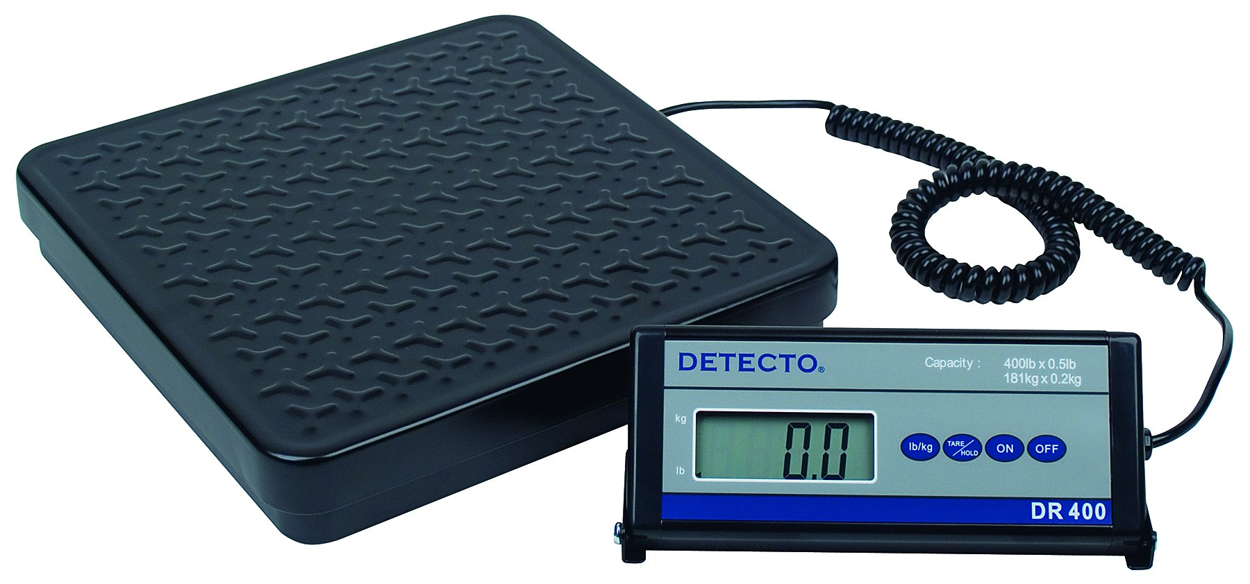 Detecto DR400 Portable Digital Receiving Scale,12'' x 12'', 400 lb. Capacity