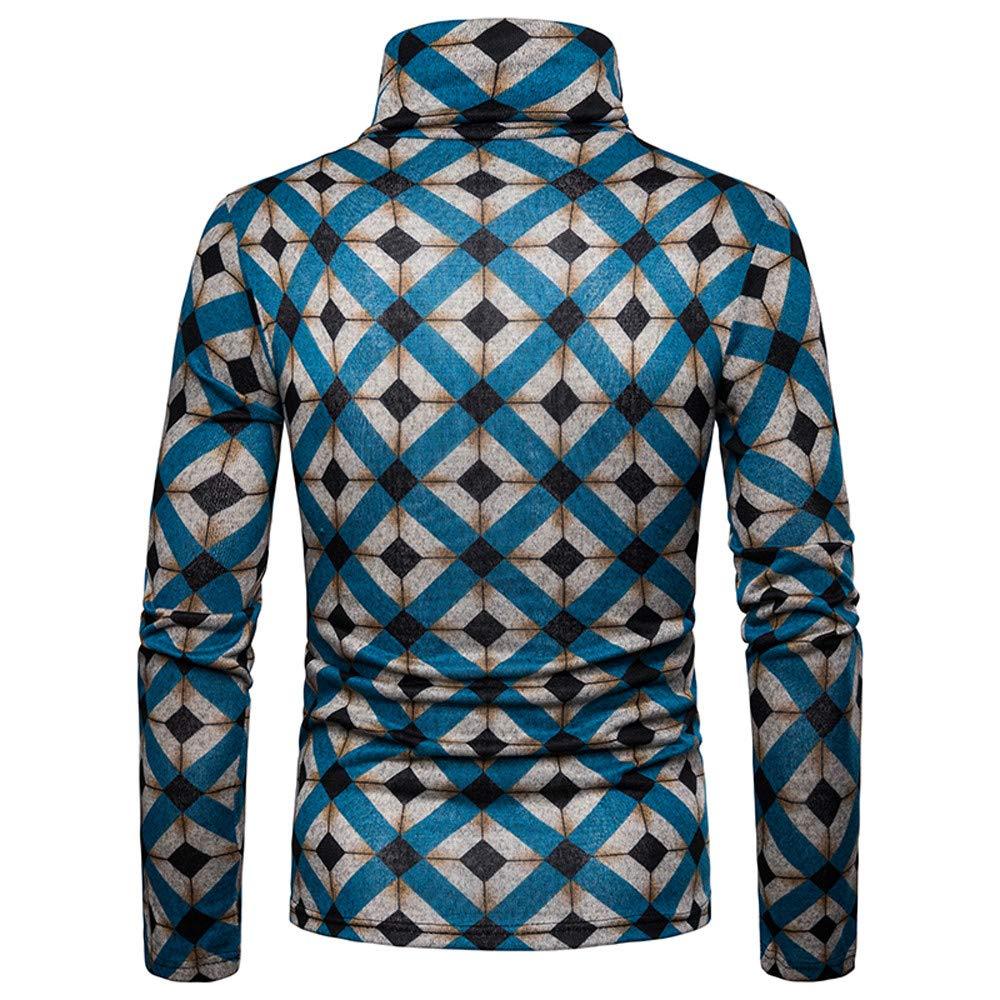 42782c17 ... Easytoy Mens Mock Turtleneck Shirt Men T Shirt Sweatshirts Sweater  Pullover Slim Fit Leopard Print Long ...