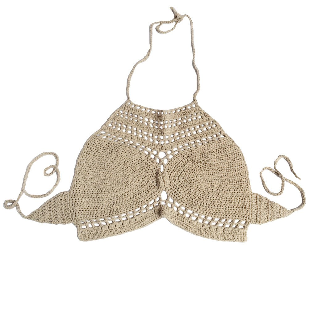 Fashion Women Boho Crochet Crop Top Knitted Bra Sexy Halter Bandage Top Hollow Out Lace Bralette Camisole Vest