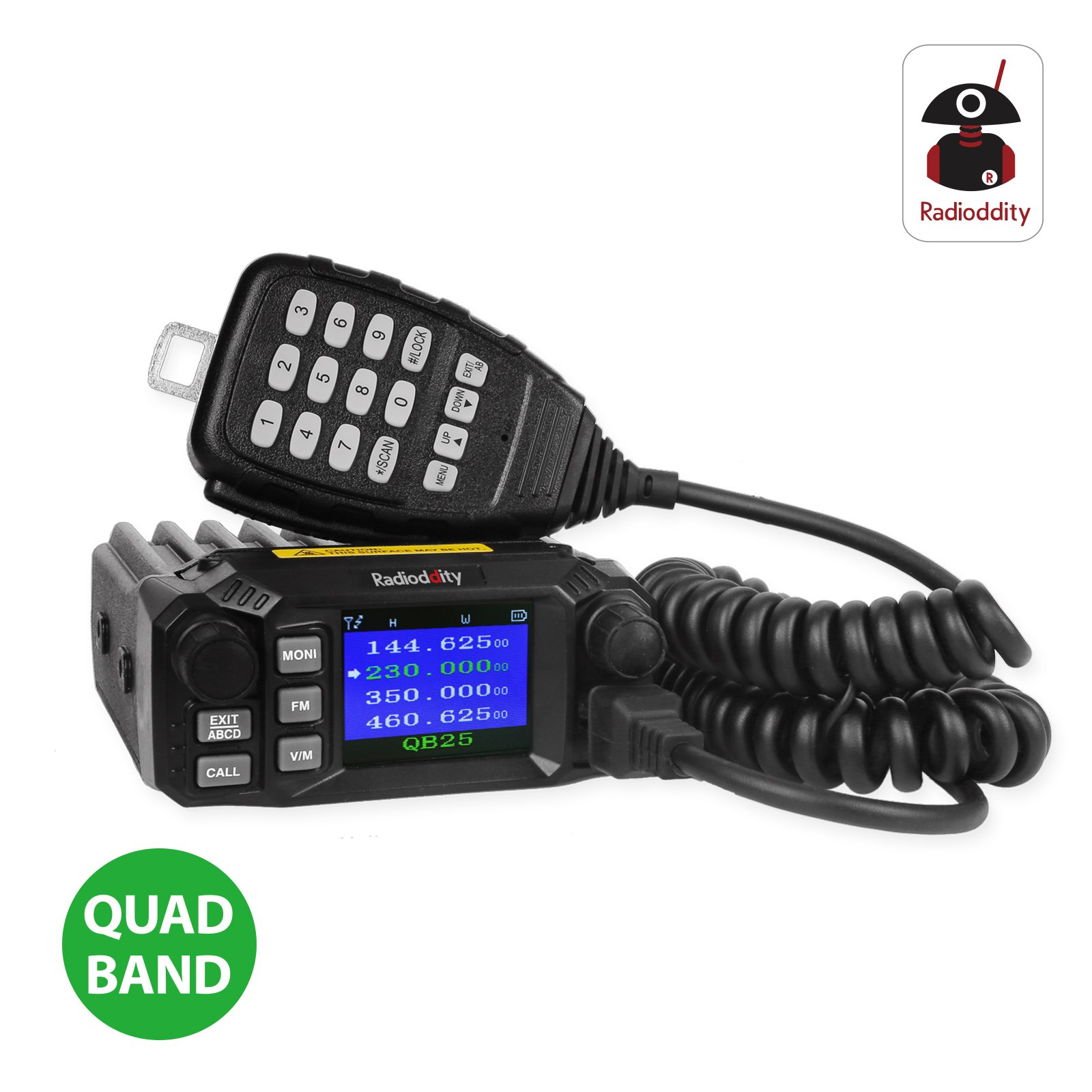 Radioddity QB25 Pro Quad Band Quad-standby Mini Mobile Car Truck Radio, VHF UHF 144/220/350/440 MHz, 25W Vehicle Transceiver with Cable & CD + 50W High Gain Quad Band Antenna by Radioddity (Image #9)