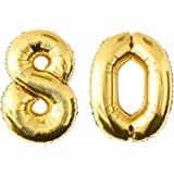 NUOLUX 5249 Inch Gold Number 80th Balloon Party Festival Decorations Birthday Anniversary Jumbo Foil Balloons