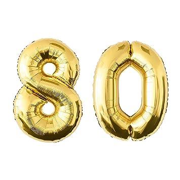 NUOLUX 52.49 pulgadas de oro de la hoja de globo, globo Jumbo Número 80 para el Festival de Aniversario de cumpleaños Decoraciones de la fiesta Photo ...