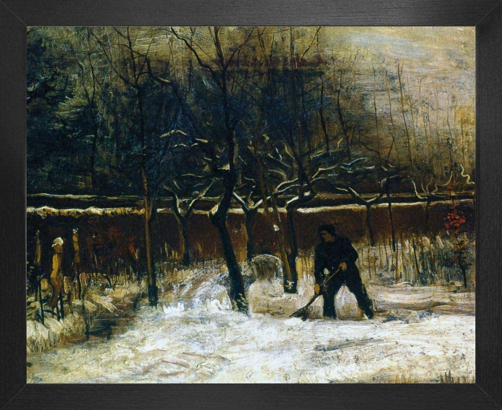 1art1 Vincent Van Gogh Poster Art Print and Frame (MDF) - The Parsonage Garden of Nuenen in The Snow, 1885 (20 x 16 inches)