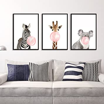 LA VIE 3 Teilig Wandbild Süße Zebra Giraffe Koala mit Kaugummi ...
