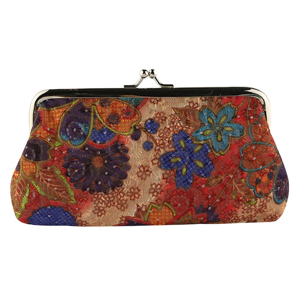 Women Retro Vintage Embroider Floral Small Coin Pouch Purse Clasp Closure Assorted Pattern Wallet Exquisite Gift (Orange)