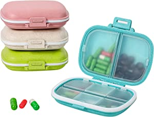 Daily Pill Organizer, 4 Pack 8 Compartments Portable Pill Case, Pill Box to Hold Vitamins, Cod Liver Oil (Blue,Pink,Khaki,Green)