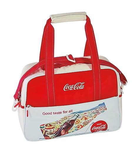 Coca-Cola Bolsa Nevera Vintage Good botón, Blanco/Rojo, 42 x 16 x ...
