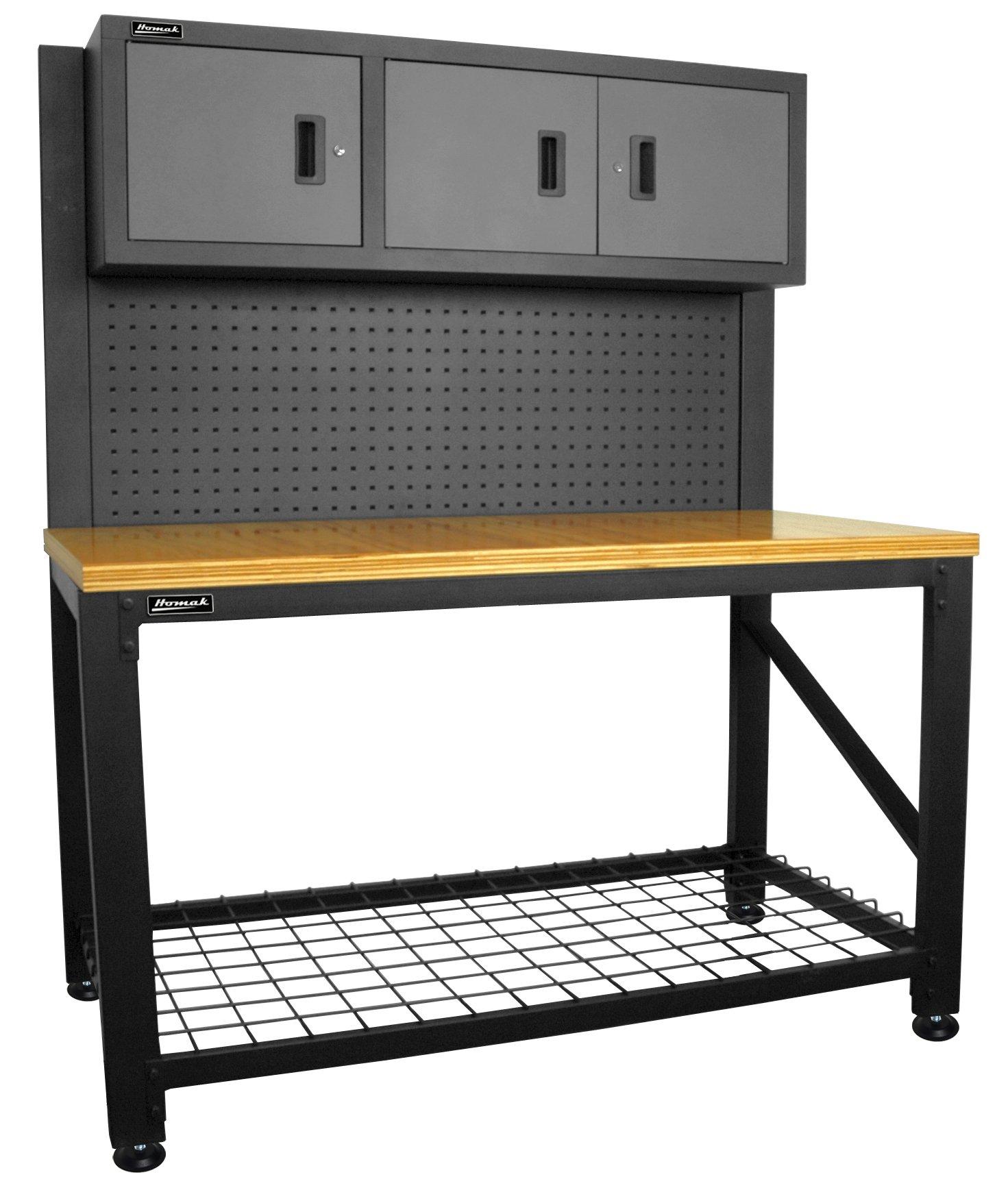 Homak GS00659031 59-Inch Wood Top Workbench with 3 Door Cabinet, Steel