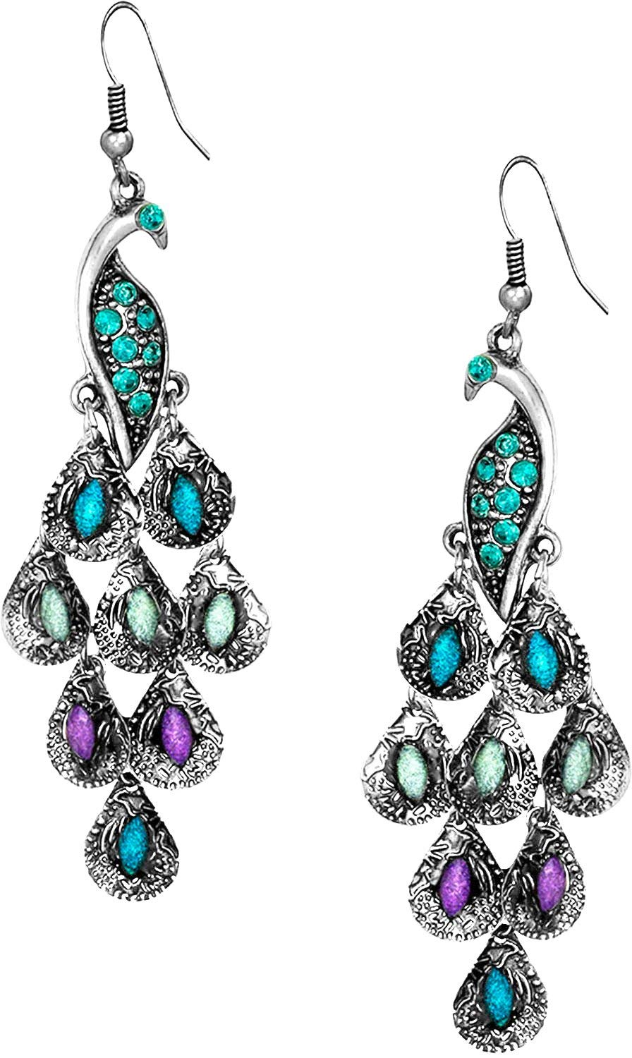 Vintage Peacock Blue Epoxy Crystal Feather Dangle Statement Earrings, Silver Tone