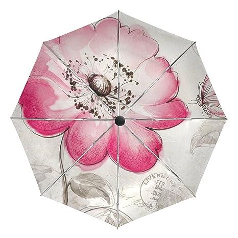 93f5c2e09654 Amazon.com : baihuishop Flower Butterfly Windproof Umbrellas Auto ...