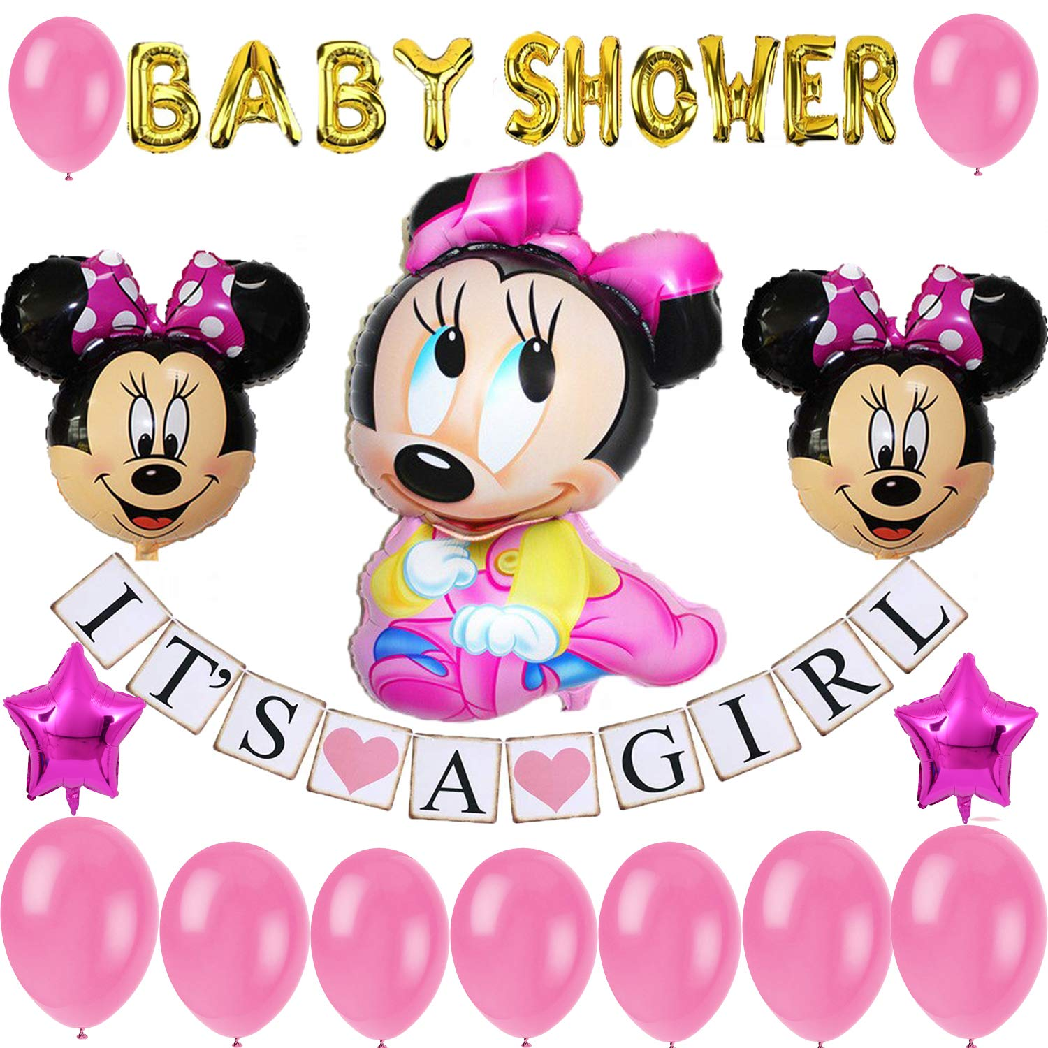 Minnie Mouse Baby Shower Decoration for girl pink Party Decoration/Baby Girl Banner/Baby Minnie Balloon by Be Happy