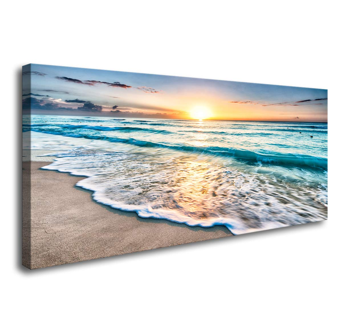 Baisuart S02262 Canvas Prints Wall Art Beach Sunset Ocean Waves Nature Pictures Stretched Canvas Wooden Framed for Living Room Bedroom and Office