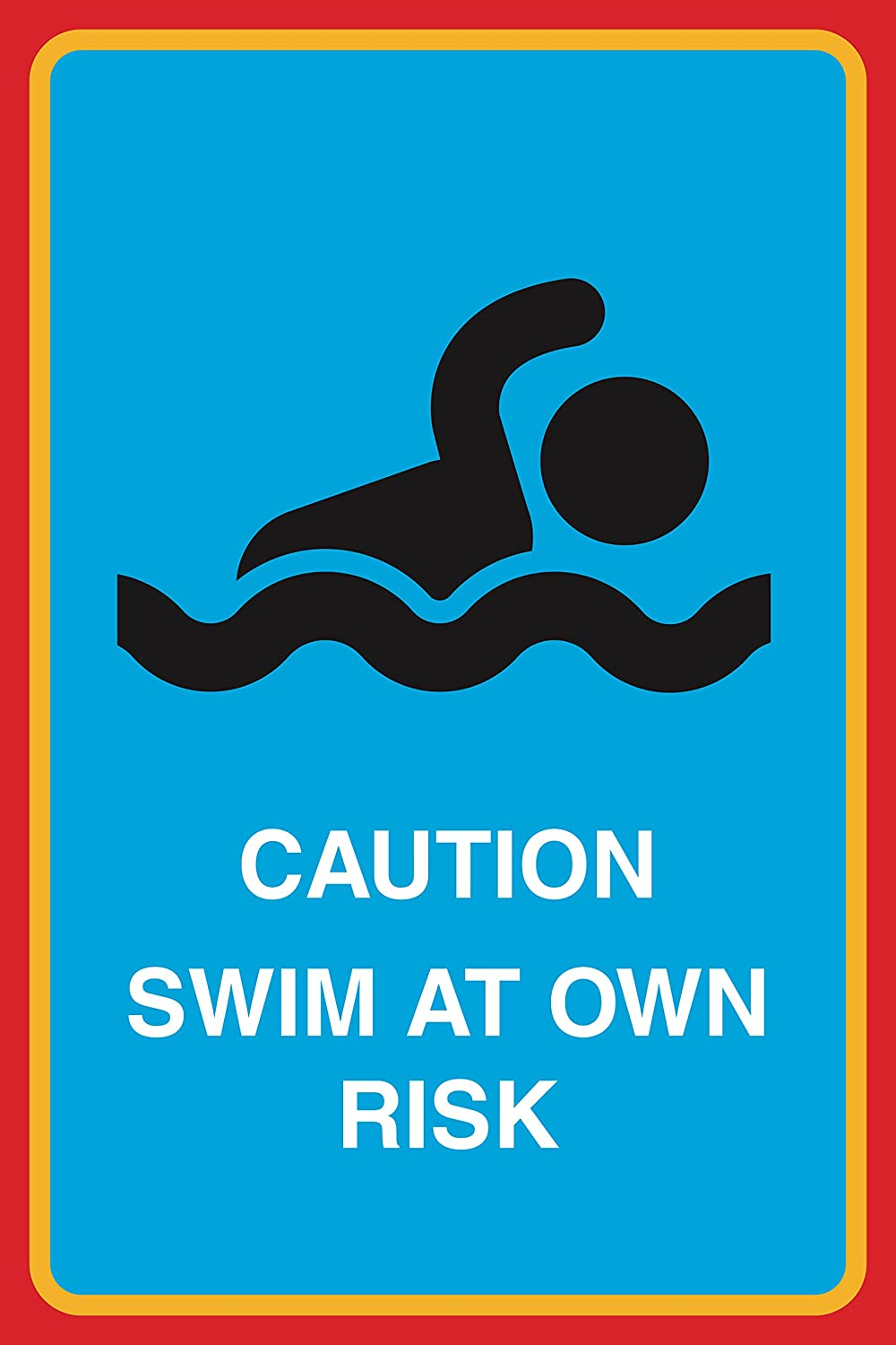 Caution Swim at Own Risk Print Person Swimming Picture Pool Beach Water Safety Sign