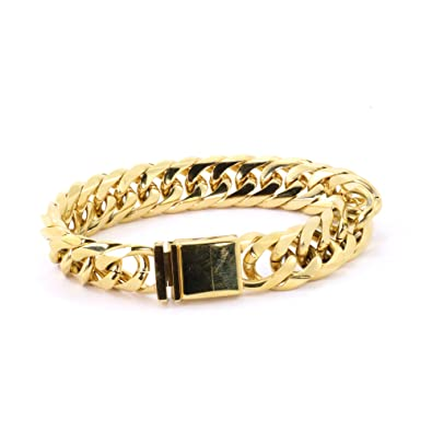 1bf6d9846870f Amazon.com: Solid 14k Yellow Gold Finish Stainless Steel 16mm Thick ...