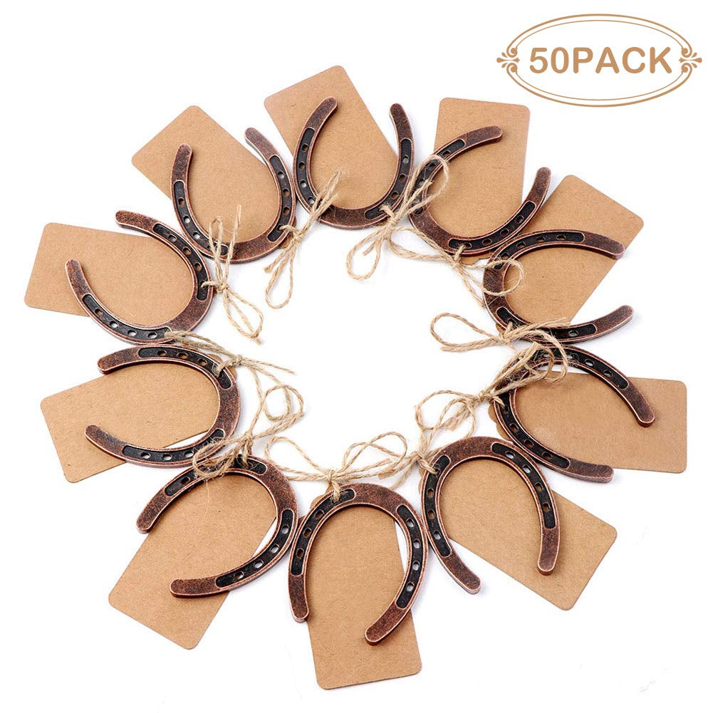 PartyTalk 50pcs Good Lucky Horseshoe Wedding Favors for Guests, Vintage Craft Horseshoes Favors with Kraft Gift Tags for Rustic Wedding Birthday Party Decorations