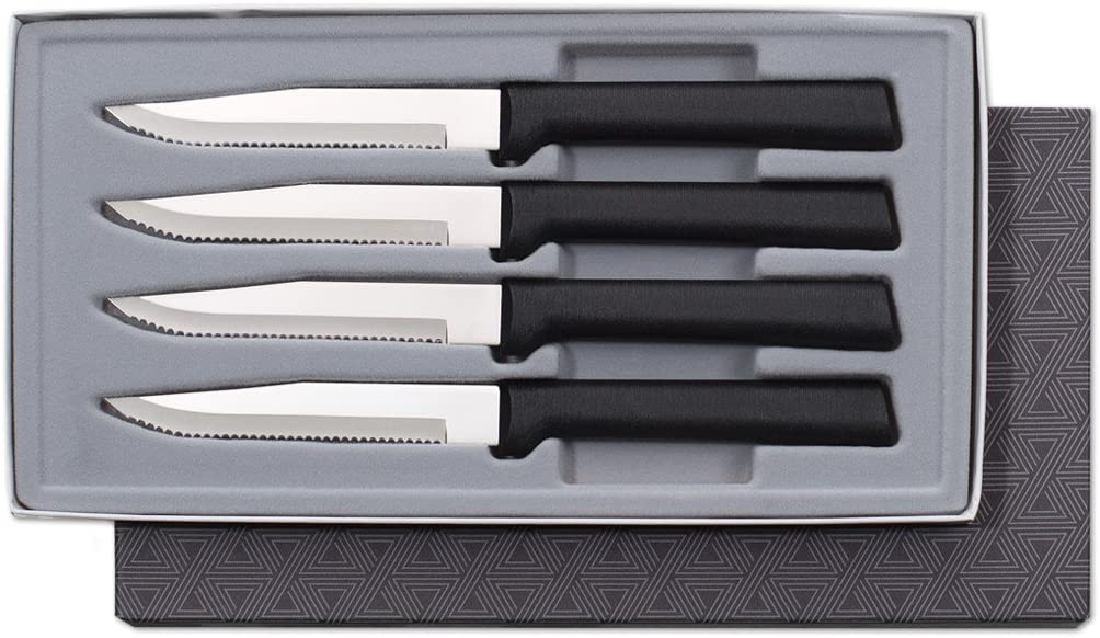 Rada Cutlery Serrated Steak Knife Set Stainless Knives Resin Steel, Set of 4, 7 3/4 Inches, Black Handle