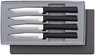 product image for Rada Cutlery Serrated Steak Knife Set Stainless Knives Resin Steel, Set of 4, 7 3/4 Inches, Black Handle