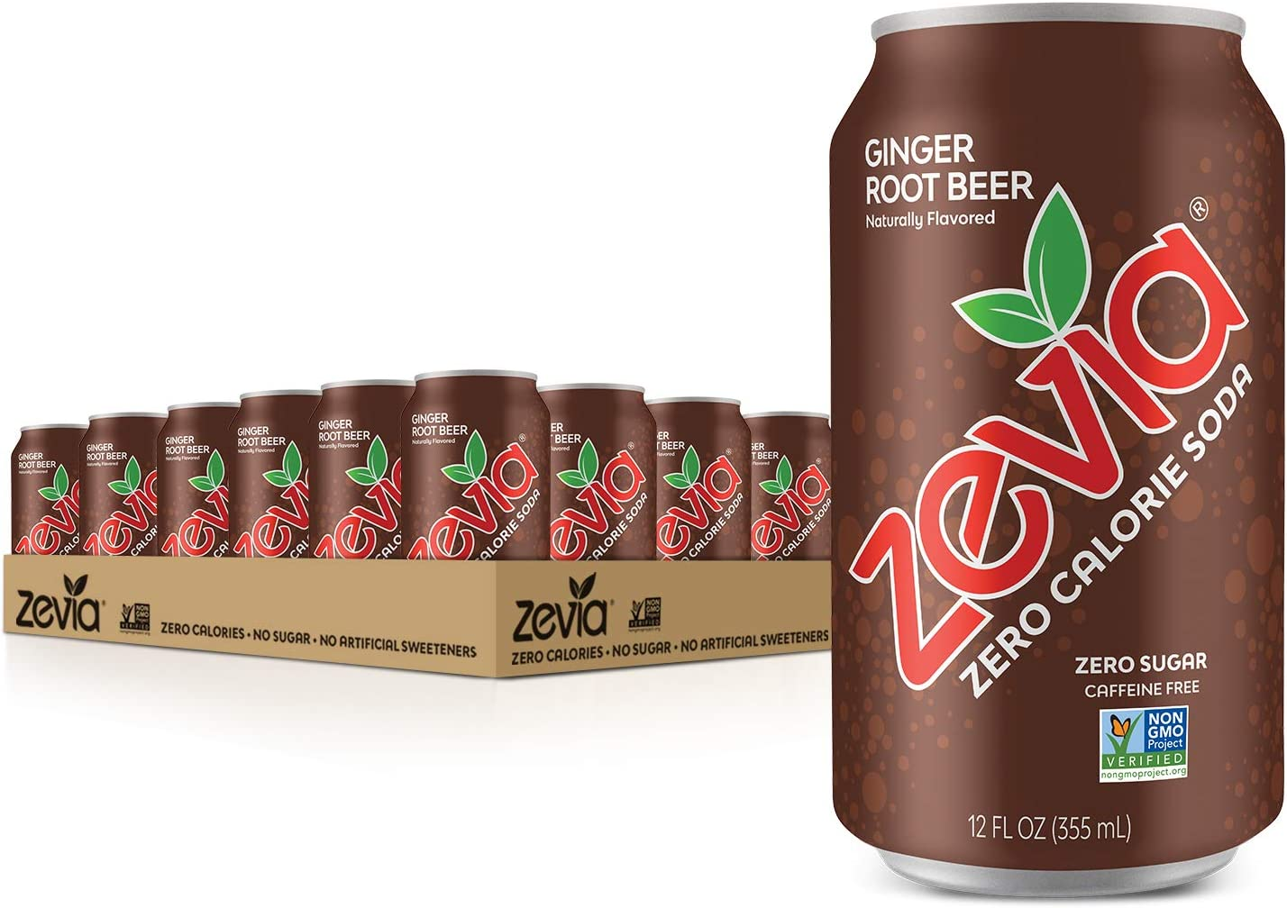 Zevia Zero Calorie Soda, Ginger Root Beer, Naturally Sweetened, (Pack of 24): Amazon.es: Alimentación y bebidas