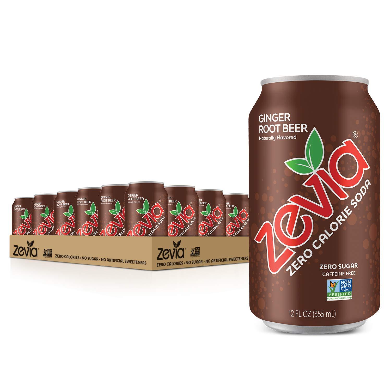 Zevia Zero Calorie Soda, Ginger Root Beer, 12 Fl.Oz (Pack of 24)