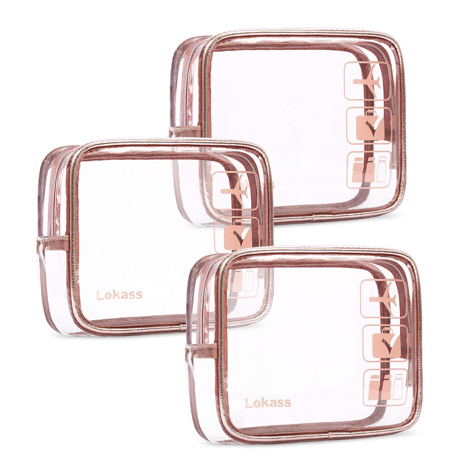 NiceEbag TSA Approved Toiletry Bag 3pcs Clear Travel Makeup Bag Set Transparent PVC Cosmetic Pouch Carry On Airport Airline Compliant Bag for Women Men Girls Boys, Quart Sized with Zipper, Rose Gold by NiceEbag