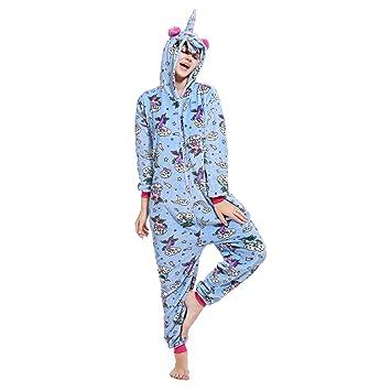 WhiFan Franela con Capucha Pijama algodón Unicornio Animal Pijama Entero Adulto Niños Pijamas Unisexo Traje para Mujer Hombre Disfraz para Navidad