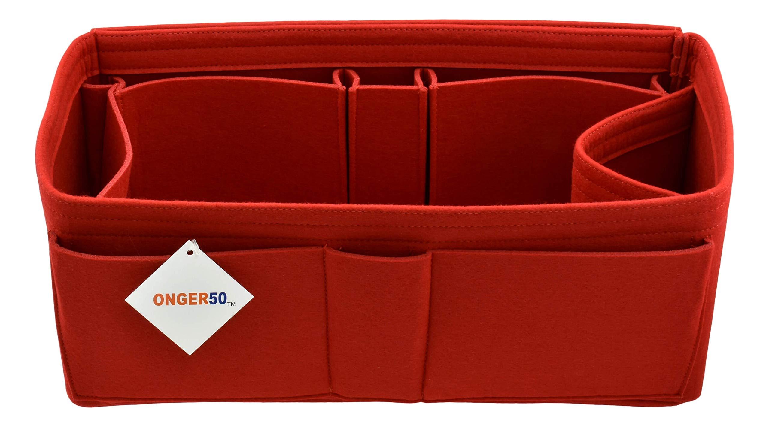 Felt Purse Handbag Tote Organizer Insert - Multi Pocket Storage Liner & Shaper (X-Large, Red)