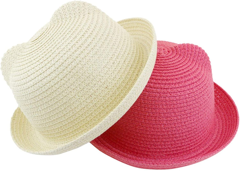 Child Orange Mageed Anna Ear Sunshade hat Summer hat Children Straw Hats boy and Girl Summer Cap Beach Panama Caps Parent
