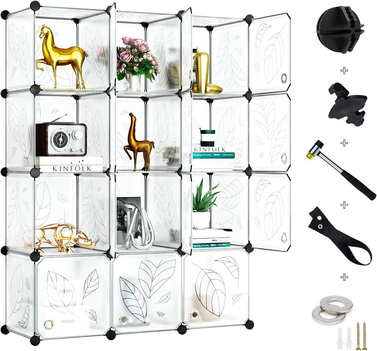 Greenstell Cube Storage Organizer, Plastic Closet Organizer with Doors, 12-Cube DIY Storage Cubes Organizer, Modular Storage Cabinet Book Shelf Shelving for Bedroom, Living Room, Office White