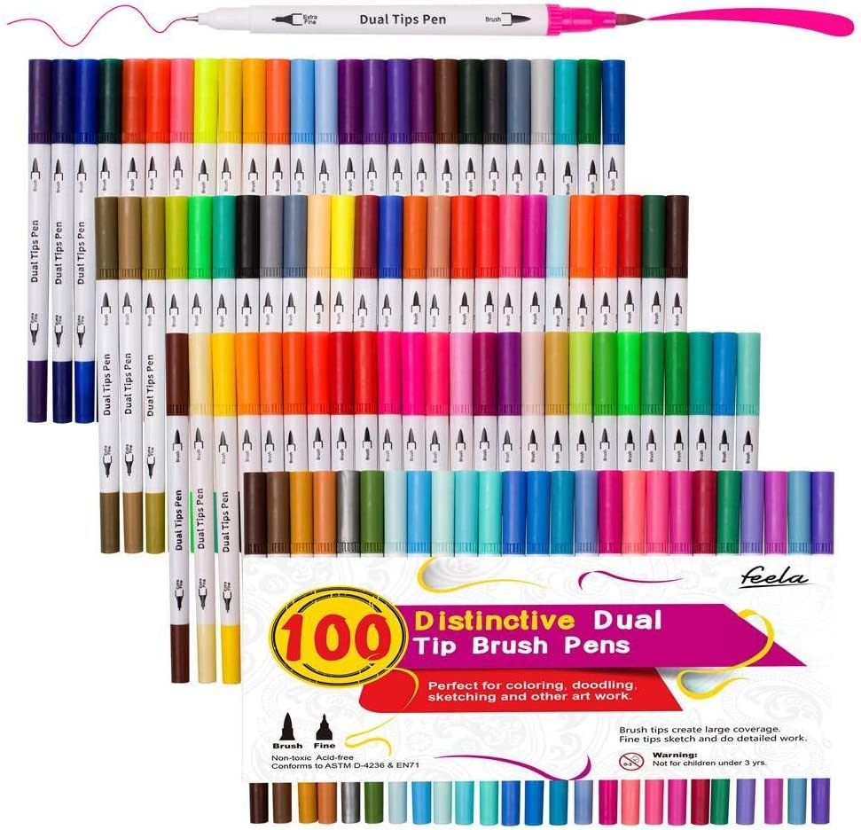 100 Colors Dual Tip Brush Pens with Fineliners Art Markers, Feela Watercolor Dual Brush Tip and Highlighters For Adult Coloring Books, Art, Sketching, Calligraphy, Manga, Journal