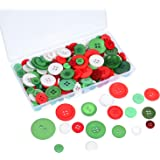 Shappy 120 g Resin Buttons 2 and 4 Holes Craft Buttons Assorted Sized Sewing Buttons with Plastic Storage Box for DIY, Red, Green and White