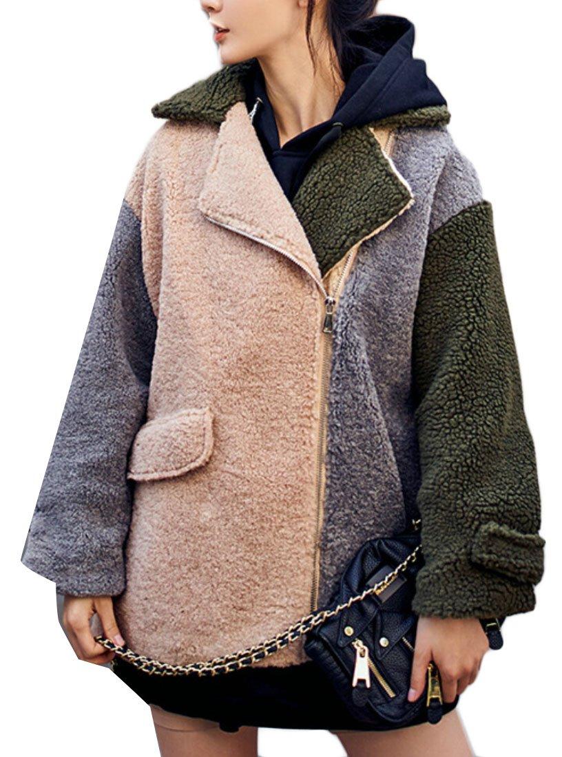 M&S&W Women's Fashion Lapel Lambswool Long Sleeve Loose Coat Khaki S