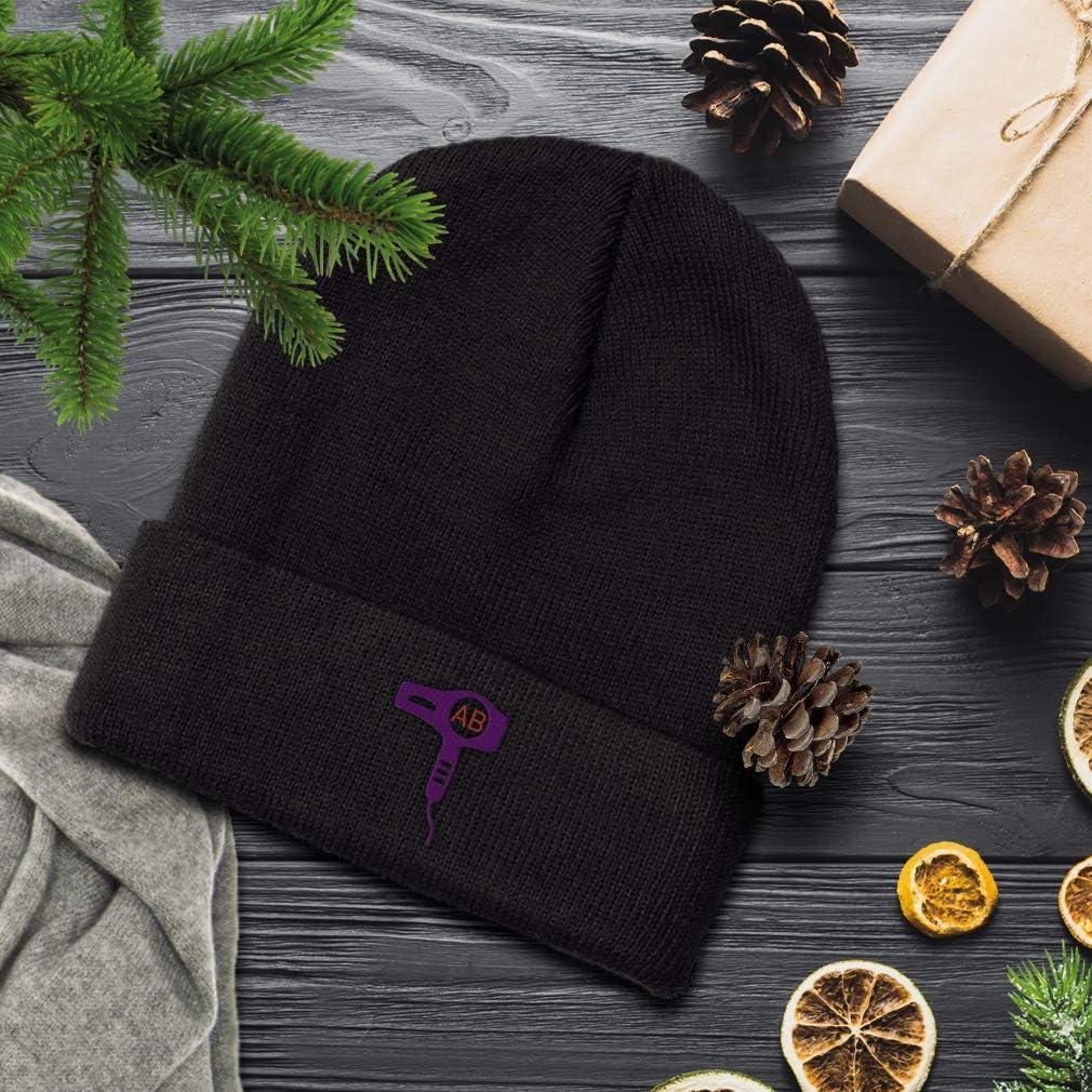 Custom Monogram Girly Purple Hair Dryer Frame Unisex Adult Acrylic Beanie