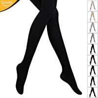 ZITA ELEMENT 2 Pairs Women's 80 Denier Solid Color Semi Opaque Pantyhose Control Top Tights Sheer Toe Silk reflections Stockings