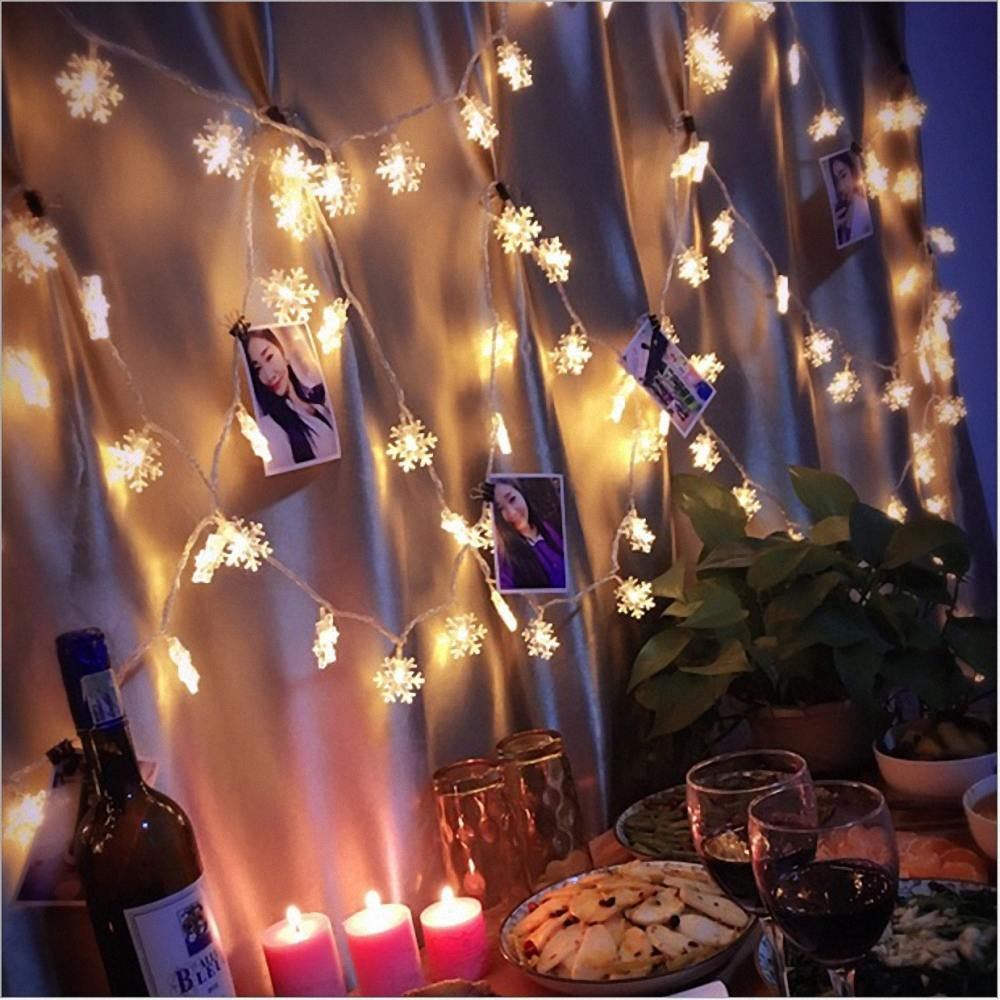 Christmas Decorative Lights, LED Fairy Snowflake String Lights Battery Operated, Xmas Decor String Lamps for Garden Patio Bedroom Party Indoor Outdoor, Warm White (10M, 80 Lamp Beads) Dream Loom GL-14498