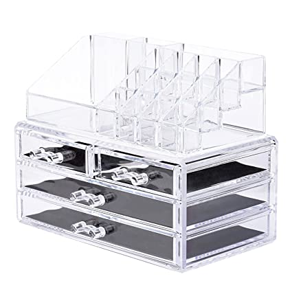 Makeup Storage Organizer,Oak Leaf Cosmetic Organizer And Jewerly Display  Box   2 Large Drawers