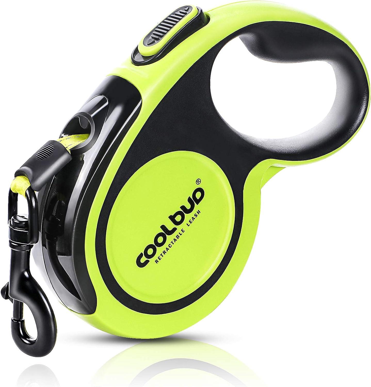 G.C Correa Perro Extensible 5m Cuerda para Perros retractil, Reflectantes Lluminosas Nylon Fuerte Correa Perro Grande de hasta 50 kg (Verde)