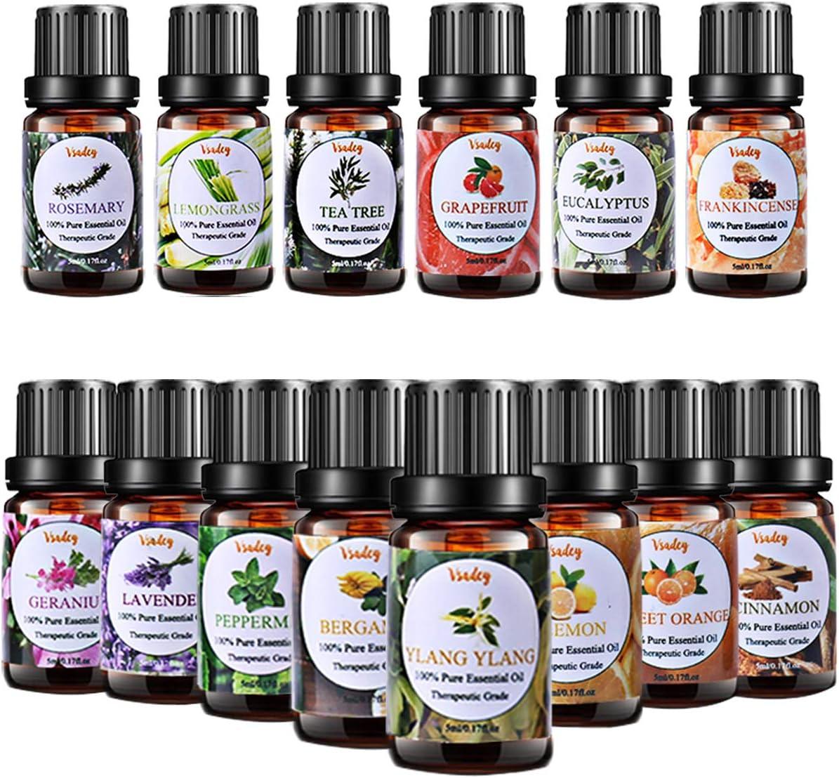 VSADEY Aceites Esenciales Aromaterapia 14pc Aceites Set de Regalo Perfecto Aceites Esenciales para Humidificador y Difusor Aroma, SPA, Masajes, relajarse, Set Essential Oils 100% Puro y Naturales