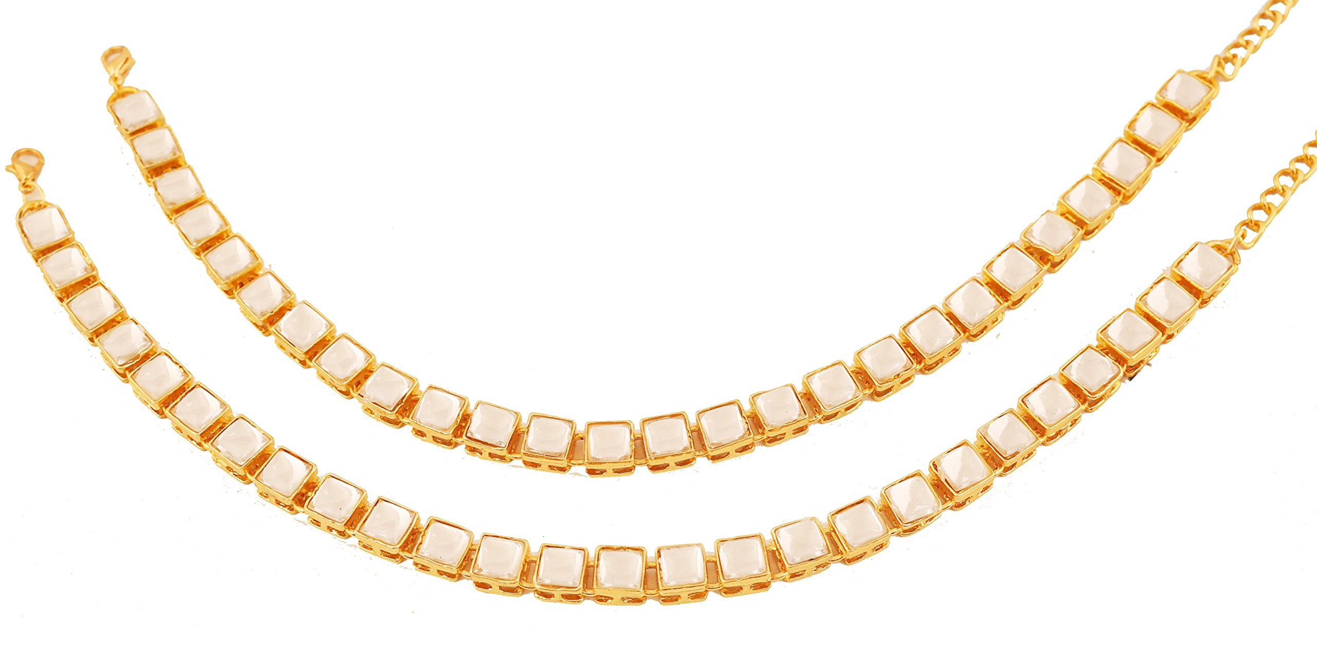 NEW! Touchstone Indian Bollywood Exclusive Mughal Era Inspired Stylish Traditional Kundan Polki Look Designer Jewelry Wedding Payal Paazeb'' Pair Of Anklets'' In Antique Gold Tone For Women.