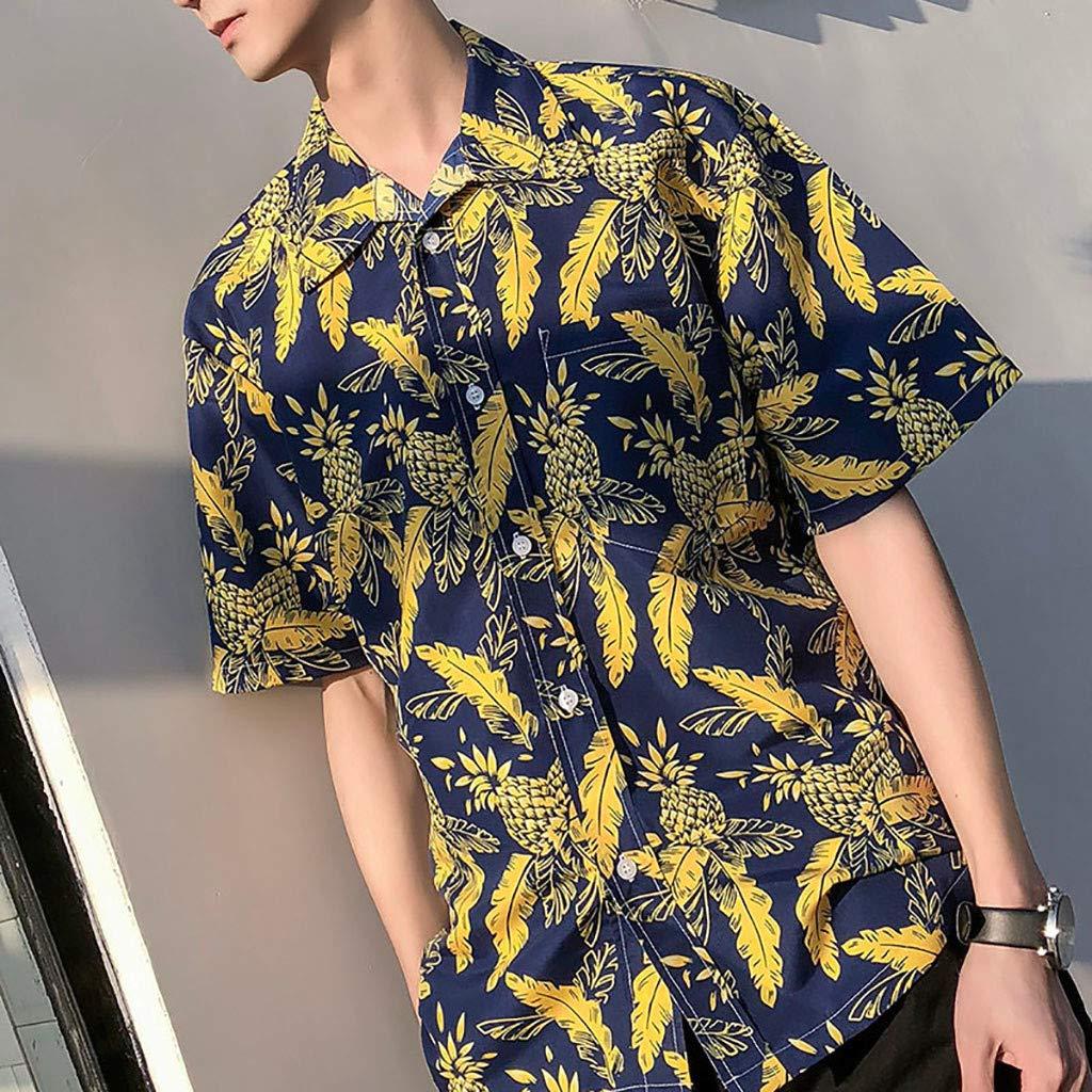 KLGDA Mens 3D Floral Printed Hawaiian Beach Short Sleeve Button Down Shirt