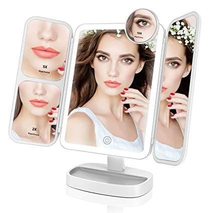 Easehold Makeup Mirror Vanity Lighted with 38 LED Soft Natural Light 2x/5x/10x