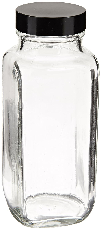 Sujetadores de plástico de boca ancha botellas de vidrio tipo III Soda Lime con GPI rosca Cap, francés cuadrado, transparente: Amazon.es: Amazon.es