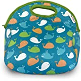 FUNKINS Kids Neoprene Lunch Bag | Insulated | Spacious, Durable, Machine Washable | WHALES
