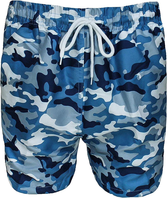 Evoga Costume da Bagno Uomo Militare Mimetico Camouflage Pantaloncino Shorts Bermuda Mare