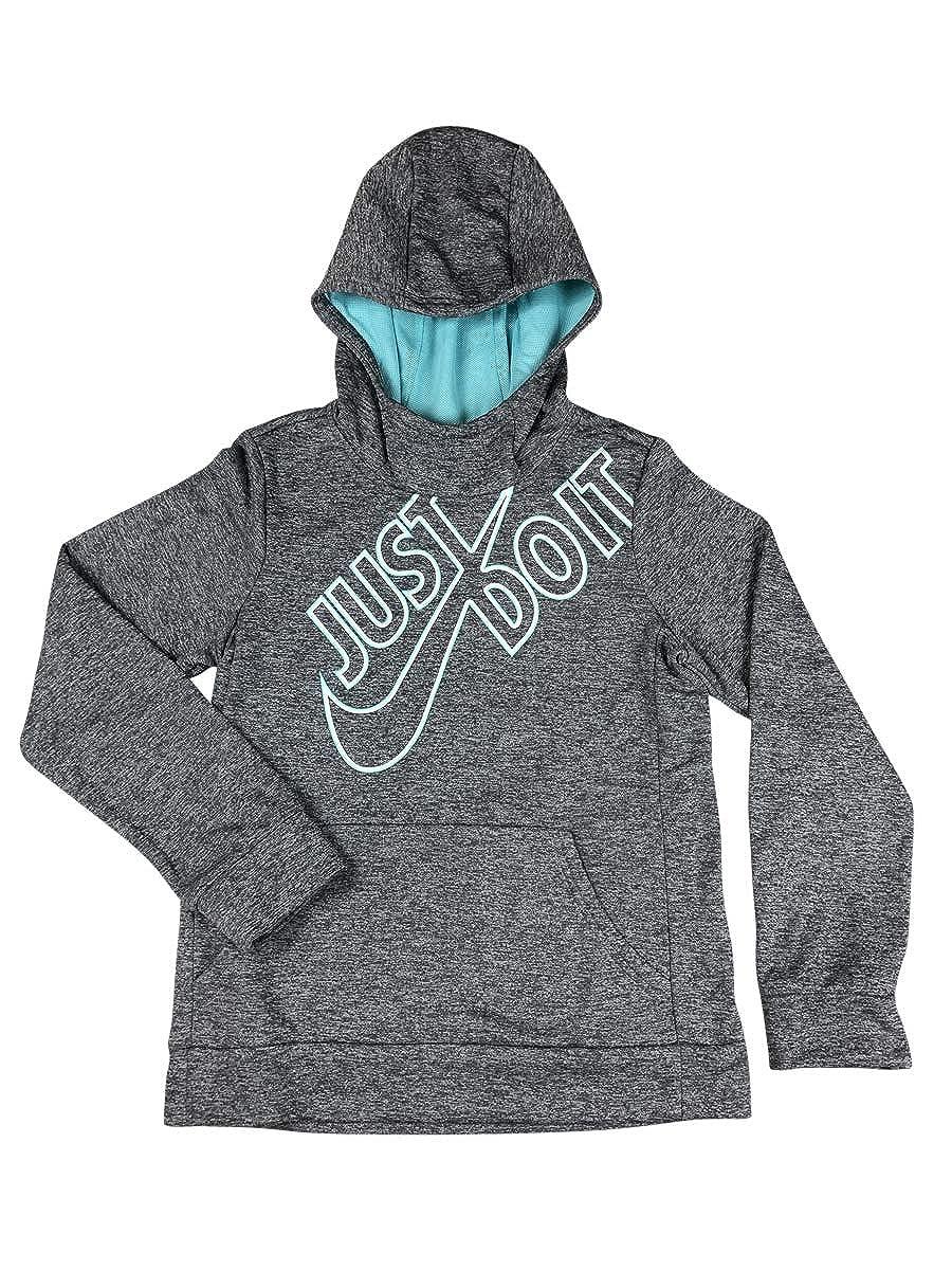 Nike Girls Therma Fleece Hoodie Grey//Aqua