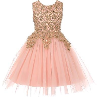 b26f7072b Amazon.com  CrunchyCucumber Sleeveless Rhinestones Lace Bodice Short Length  Tulle Skirt Flower Girl Dress  Clothing