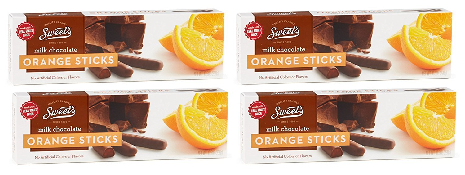 Sweet's Milk Chocolate Orange Sticks, 10.5oz Box(Pack of 4 boxes) by Sweets