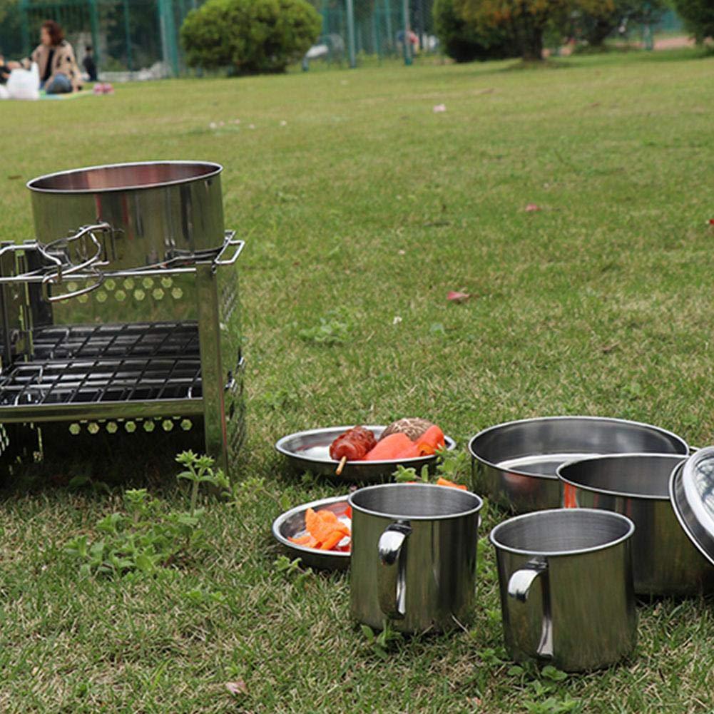 Alomejor Camping Kochgeschirr Mess Kit mit Cup Plates Klappgriff Picknick Kochtopf f/ür 5-6 Personen BBQ Wandern